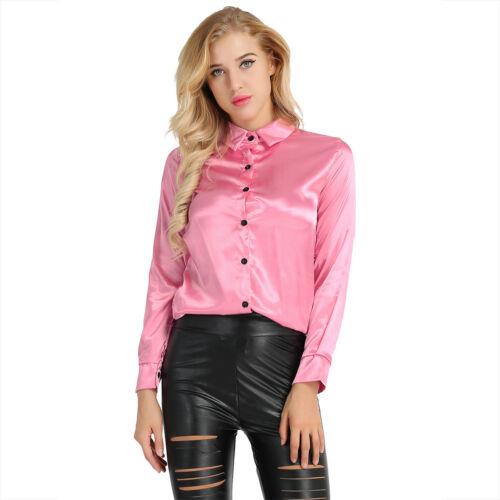 Women Satin Turn Down Collar Long Sleeve Blouse Formal Ladies Office Shirts Tops