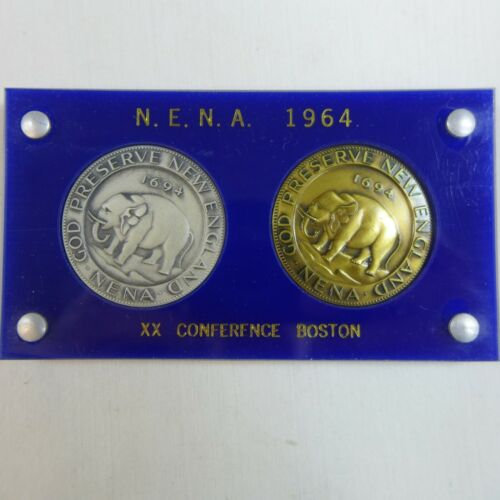 MA BOSTON COIN CONFERENCE 1964 in Plastic Sterling /& Bronze Medals N.E.N.A
