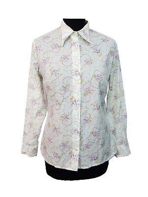 Disinteressato Vintage Camicia Taglia 14 Bianco, Viola Floreale Retrò Da Sera Festa Party Tutti I Giorni-mostra Il Titolo Originale