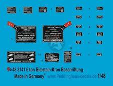 Peddinghaus 1/48 German 6 Ton Bilstein Crane Typ G 07.04 Markings WWII 3141