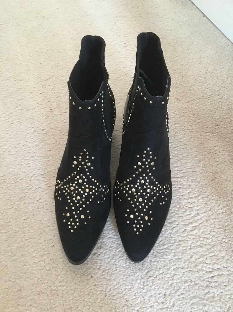BN - NEW LOOK WIDE FIT BLACK FAUX SUEDE STUDDED CHELSEA BOOTS 6
