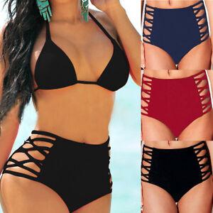 45daa449a5 UK Hot Womens Bikini Bottom Cheeky High Waist Thong Swimwear ...