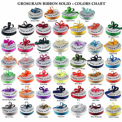 "Grosgrain Ribbon 50 Yards Roll 1/4"", 3/8"", 5/8"", 7/8"", 1.5""  Bulk 40 Colors Ava."