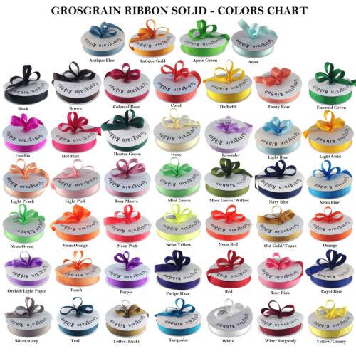 "1.5/""  Bulk 40 Colors Ava. 5//8/"" 3//8/"" Grosgrain Ribbon 50 Yards Roll 1//4/"" 7//8/"""