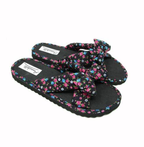 WOMENS SLIDERS Floral Bow Slip on Summer Mule Flip Flop Beach Sandal SIZE 345678