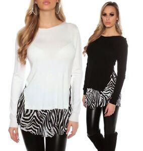 economico per lo sconto design raffinato amazon Pullover maglia donna maglioncino bordo effetto camicia stampa ...