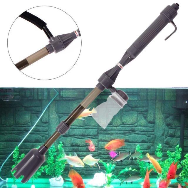 New Aquarium Battery Syphon Auto Fish Tank Vacuum Gravel Water Filter Cleaner SS