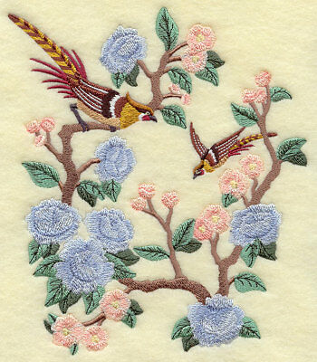 TANAGERS FALL GORGEOUS BIRDS SET OF 2 embroidered HAND TOWELS BY LAURA