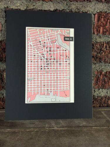 "City Map of Oakland California  1958 Mid Century Black Matted 8/""x10/"" Art Print"