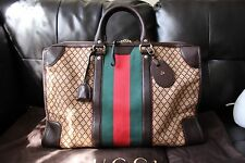 GUCCI Classic Brown Diamante Canvas Leather Web Fabric Tote Duffel Weekender Bag