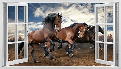 Horse race animal wall sticker 3D Window mural new modern home design Decor W24
