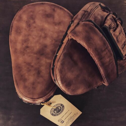 Retro Reborn Leather Brown Adult Boxing Curved Focus Pads Vintage Style