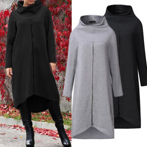 ZANZEA-Women-Long-Shirt-Dress-Evening-Party-High-Low-Asym-Split-Sweatshirt-Dress