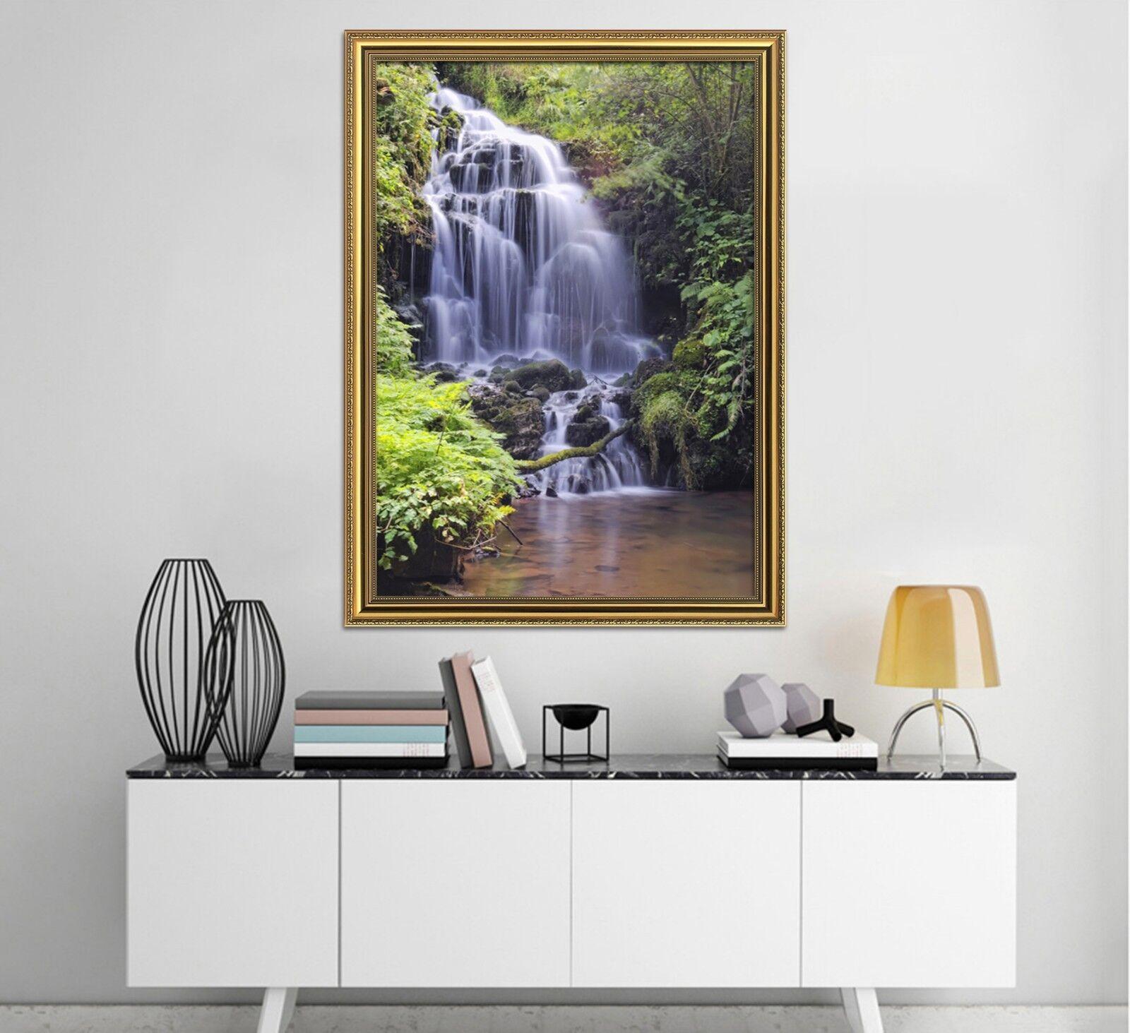 Cartel enmarcado 3D Cascada Tropical 2 Decoración del Hogar Pintura de Impresión Arte AJ Wallpaper