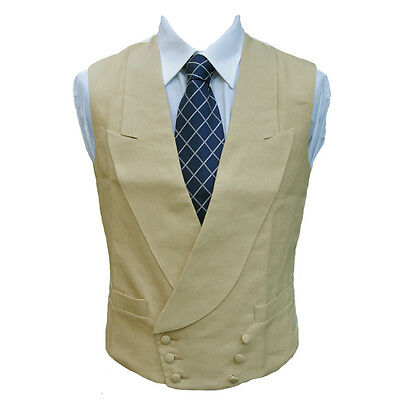 "Double Breasted Irish Linen Waistcoat in Sand 46"" Long"