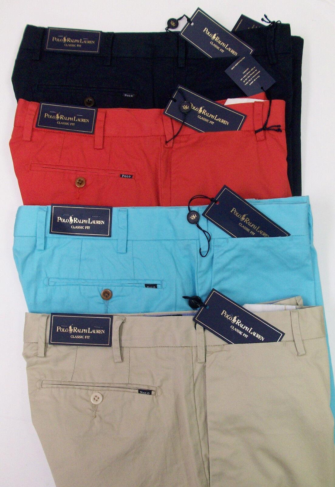 Polo Ralph Lauren Flat Front Classic Fit Pima Cotton Khaki Pants  w Badge NWT