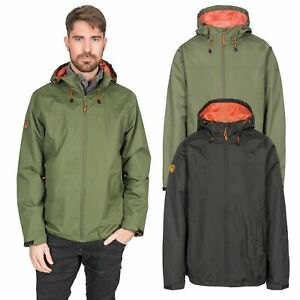 Trespass-Kelty-Mens-Waterproof-Jacket-Black-amp-Green-Rain-Coat-With-Hood