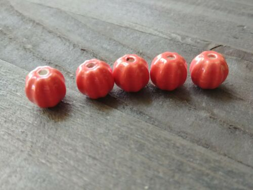 10 Porcelain Pumpkin Beads Orange Ceramic 13mm Findings