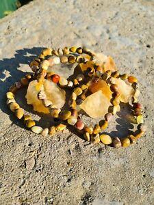 4 Earthy Stones: Picture Jasper, Petrified Wood, Yellow Jade & Leopard Skin...