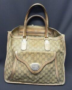 b9aa9cfc2c33 Vintage 1970's Gucci Tote Doctors Bag Large Light Brown Monogramed ...
