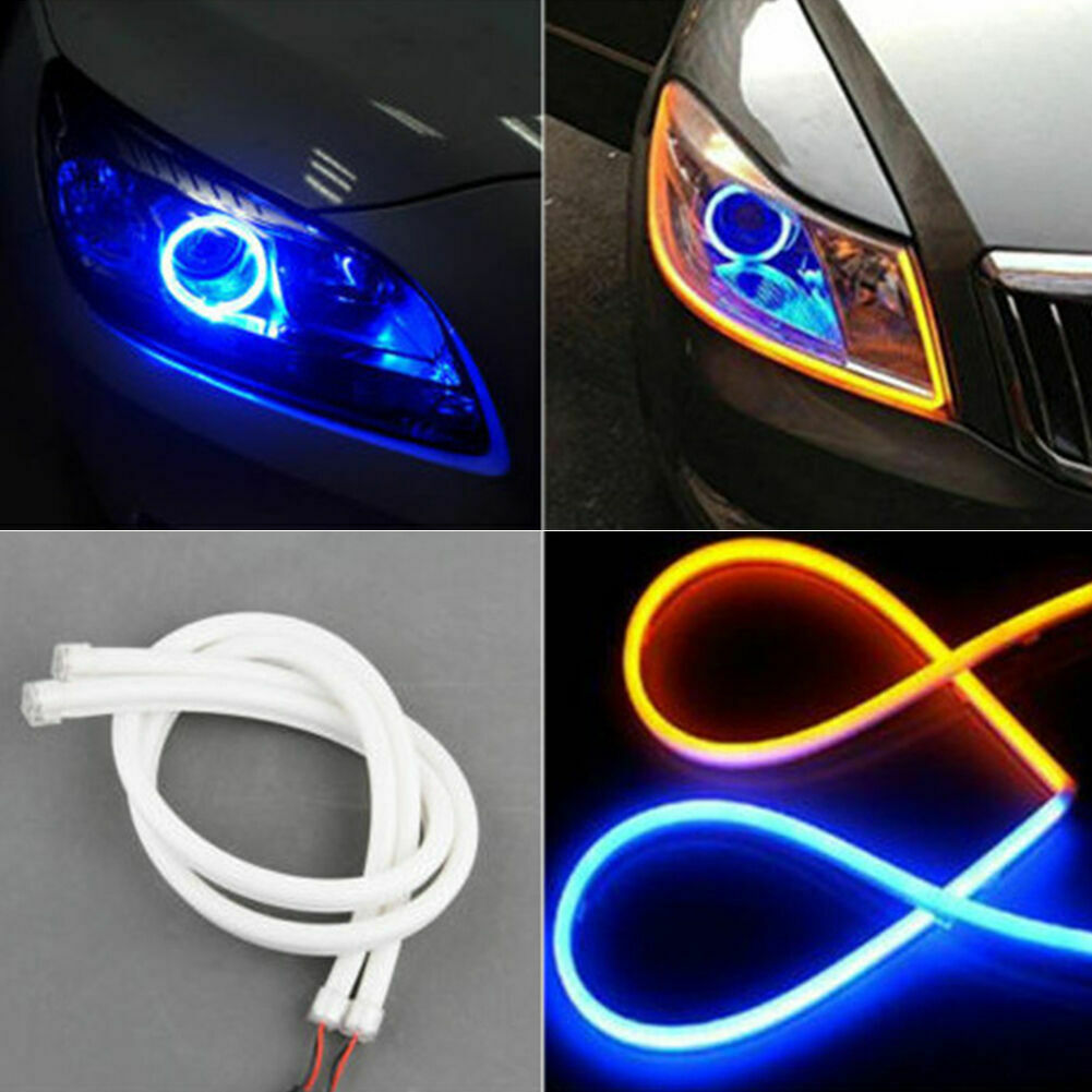 2x 24IN 60cm White and Amber DRL Flexible Turn Signal L