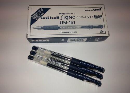 Uni-ball Signo UM-151 Blue Black Pens 0.38mm Uniball Japan Mitsubishi Pen