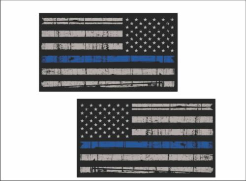 """6/"""" Vinyl REFLECTIVE Police Graphic Decals Thin Blue Line MIRRORED Flag PAIR"""