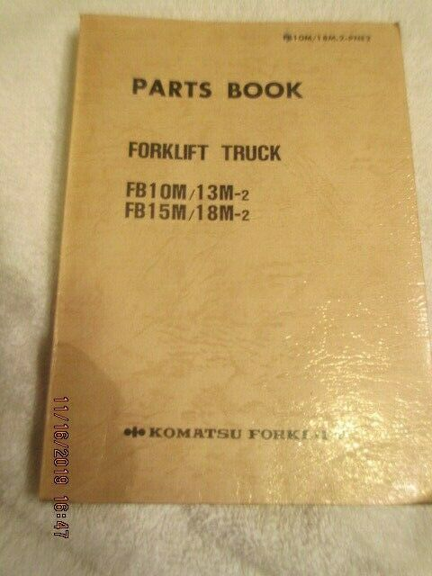 Oem Komatsu Forklift Fb10m Fb15m 13m 18m Parts And Drawings Book Manual 1988