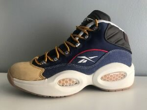 0982dbf8c1c Reebok Mens Question Mid Dress Code Blue White Yellow AR0252 SIZE  7 ...