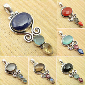 925-Silver-Plated-SIMULATED-SAPPHIRE-CHALCEDONY-PREHNITE-amp-Other-Stone-Pendant