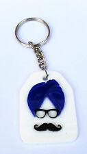 SIKH Punjabi SARDAR JI Singh PAGARI BLUE Turban Moustache KEY RING Key Chain