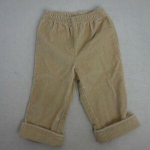Hanna-Andersson-Boys-Size-80-Tan-Corduroy-Elastic-Waist-Pants-Cuffable-Hem-VV9