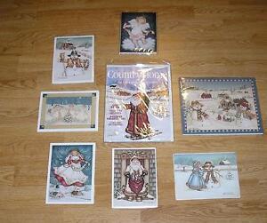 CHRISTMAS ANGELS SNOWMAN SANTA CLAUS FOLK ART HAND SIGNED ART PRINT COLLECTION
