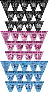 GLITZ-RANGE-3-Colours-PRISMATIC-TRIANGLE-12-BUNTING-FLAG-BANNER-Birthday-Party
