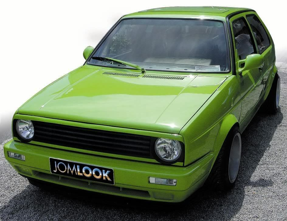 VW-Golf MK2 2 Badgeless Debadged Euro Front Grill Boser Eyelid Spoiler Eyebrow