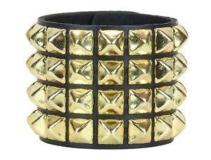 Gold-Pyramid-Stud-4-Row-Leather-Punk-Rockers-Bracelet-Goth-Emo-Rockabilly