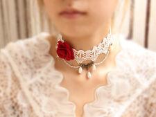 A Punta Velluto Collare Collana Collana Chocker Barocco Perle Bianco Rosa 1178