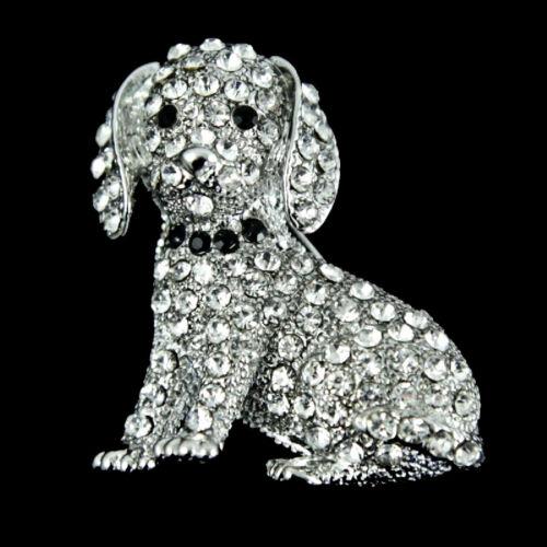 Venetti incrustado con Piedras de Cristal Genuino Perro Broche