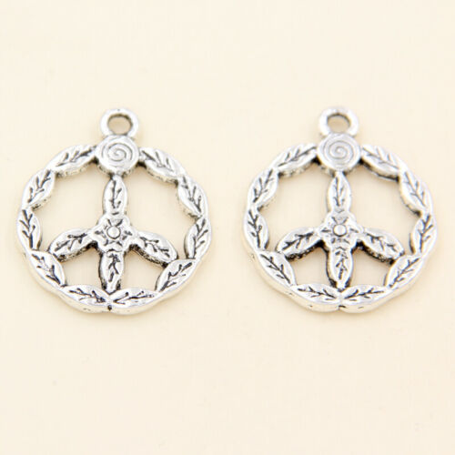 wholesale 12//42Pcs Silver Plated Peace sign Pendant 24x20mm (Lead-Free)