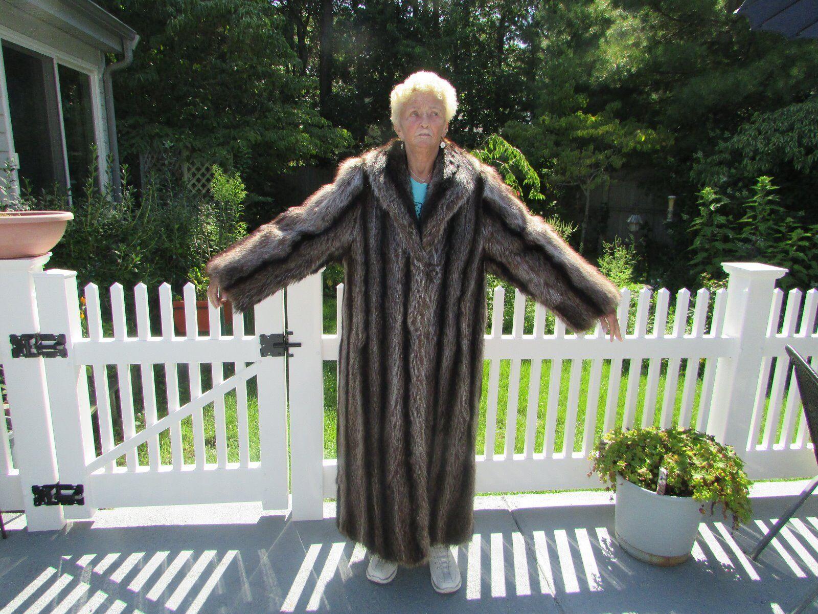 FULL LENGTH FEMALE TEXAS RACOON COAT