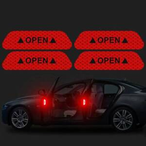 10PCS Super Color Car Door Open Sticker Reflective Tape Safety Warning Decal NEW