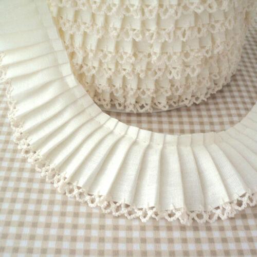 Cotton Fabric Pleated Trim Picot Edging Cream