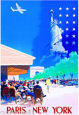 Paris to New York Statue of Liberty United States Travel Advertisement Poster