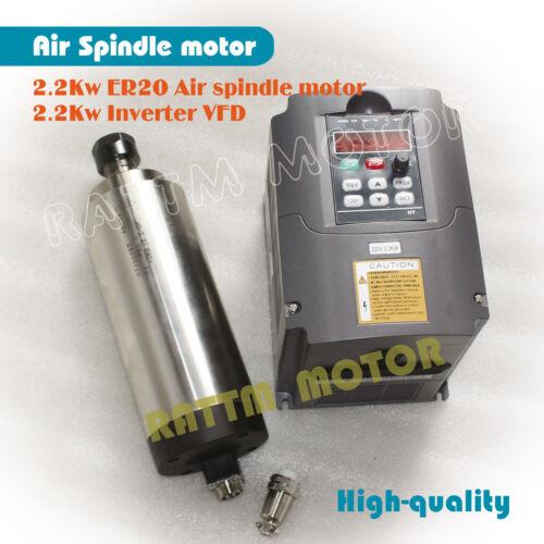 【US Ship】2.2KW ER20 Air Cooled Spindle Motor 220V/&2.2kw Inverter VFD /&80mm Clamp