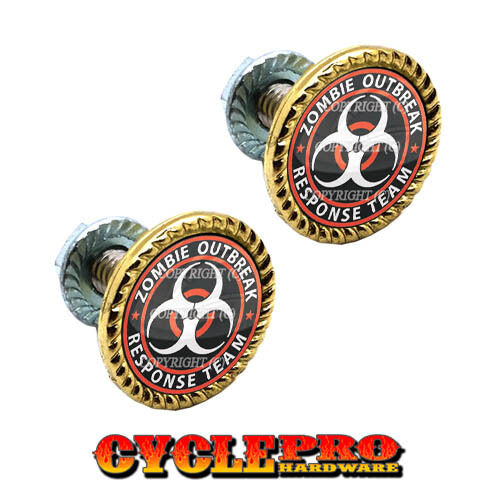 048 2 Gold Brass Plated License Plate Frame Tag Bolts ZOMBIE OUTBREAK