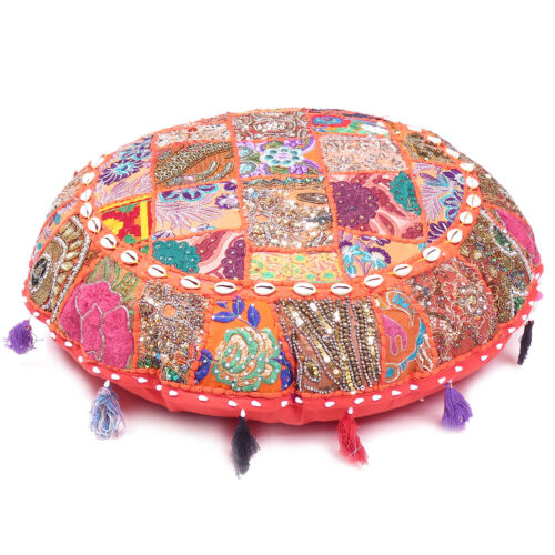 """Orange Round Patchwork Floor Throw Cover Embroidered Meditation Cushion Cover28/"""""""