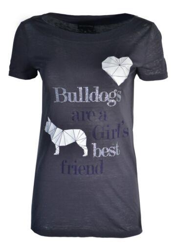 Emporio shirt Dogs Bulldogs Dark Rhinestone Armani Thin T Diamond Love We Grey wqzTBCwr
