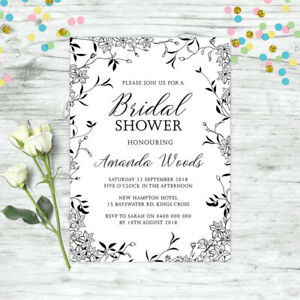BRIDAL-SHOWER-INVITATIONS-PERSONALISED-BLACK-FLORAL-INVITE-WEDDING-HENS-PARTY