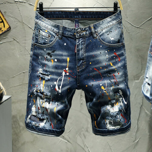 New Men/'s Denim Shorts Broken Hole Slim-fit Stretch-embroidered Five-point Pants