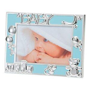 Blue-Baby-Boy-New-Born-Photo-Frame-Silver-Plated-Icons-6X4-034-10X15-cm-BFA1015UE